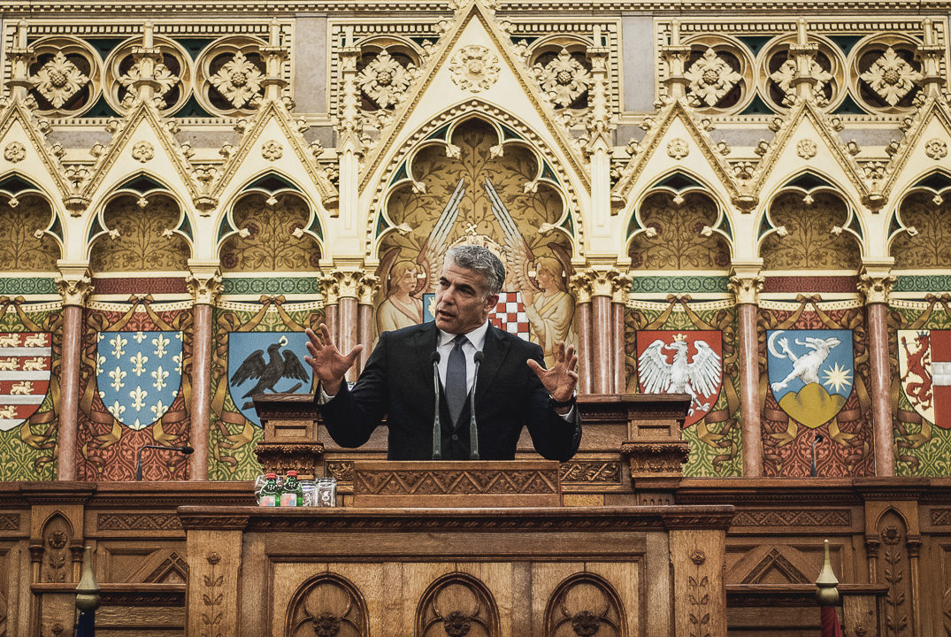 Delegation | Yair Lapid gives a speech in the Hungarian Parliament
